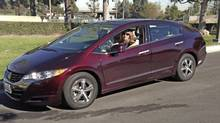 Honda pays for Karen Thorp's hydrogen, which typically costs between $12 (U.S.) and $15. She has been driving the Honda FCX Clarity since 2007.