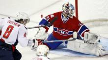 Washington Capitals' Alex Ovechin, of Russia, scores pass Montreal Canadiens goalie Carey Price during third period Game 4 NHL Eastern Conference quarter-finals hockey action Wednesday, April 21, 2010 in Montreal. (Ryan Remiorz/THE CANADIAN PRESS)