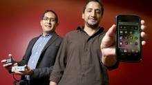 The Tecla Shield Dos, made by Toronto-based Komodo OpenLab Inc., can help people with disabilities change the way they live and work by allowing them to manipulate smartphones, tablets and computers with the built-in controls of their wheelchairs. Co-founders are Mauricio Meza, left, and Jorge Silva. (Tim Fraser For The Globe and Mail)