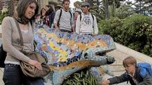 Gaudi's mosaic dragon fountain at the entance to Park Guel in Barcelona is a popular place for tourists. (Randall Moore/Randall Moore/The Globe and Mail)