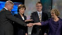 B.C. Conservative leader John Cummins, left, takes part in a televised debate during the 2013 British Columbia electioncampaign with B.C. Liberal leader Christy Clark, B.C. NDP leader Adrian Dix and B.C. Green leader Jane Stirk (left to right). The B.C. Conservatives will not be present at the debates in the lead up to this spring's election. (JONATHAN HAYWARD/THE CANADIAN PRESS)