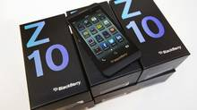 A view shows a Blackberry Z10 device at a Rogers store in Toronto February 5, 2013. Tuesday marks the first day the Blackberry Z10 with the BB10 operating system goes on sale to the public in North America. (MARK BLINCH/REUTERS)