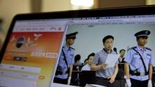 A photo described as showing human rights lawyer Xie Yang on trial is displayed on a computer in Beijing, China on May 8, 2017.