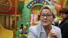 Parti Québécois Leader Pauline Marois tours a children's indoor play centre in Blainville, Que., on March 25, 2014. (CHRISTINNE MUSCHI/REUTERS)