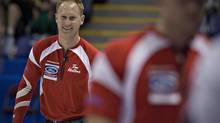 Canada skip Brad Jacobs reacts to a shot during their game against Switzerland at the World Men's Curling Championships in Victoria, British Columbia April 1, 2013. (ANDY CLARK/REUTERS)