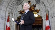 Governor-general designate David Johnston arrives to deliver a statement on Parliament Hill in Ottawa July 8, 2010. (Reuters)