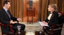 Barbara Walters interviews Syrian President Assad in this ABC screenshot from December 7, 2011. (Screenshot)