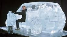 Iceculture Inc. of Hensall, Ont., uses computer-controlled CNC technology to make intricate ice sculptures, such as this scale model of a Mini Cooper. (Iceculture)