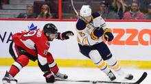 Ottawa Senators' Derick Brassard blocks a pass attempt by Buffalo Sabres' Jack Eichel during the third period of pre-season NHL hockey action in Ottawa on Friday, Oct. 7, 2016. (Sean Kilpatrick/THE CANADIAN PRESS)