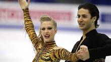 Canadian ice dancers Kaitlyn Weaver and Andrew Poje perform during their ice dance short program at the 2012 World Figure skating Championships in Nice, southern France, Wednesday, March 28, 2012. (Lionel Cironneau/AP)