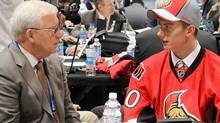Bryan Murray, general manager of the Ottawa Senators, speaks with third round draft pick Jakub Culek during day two of the 2010 NHL Entry Draft at Staples Center on June 26, 2010 in Los Angeles, California. (Photo by Bruce Bennett/Getty Images) (Bruce Bennett/2010 Getty Images)