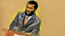 A courtroom sketch of Omar Khadr, shown attending jury selection on Aug. 10 during his military trial at Guantanamo Bay. (Janet Hamelin/The Canadian Press)