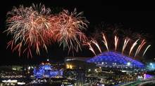 Fireworks are seen over the Olympic Park during the rehearsal of the opening ceremony at the Adler district of Sochi, February 4, 2014. (ALEXANDER DEMIANCHUK/REUTERS)