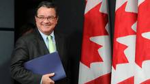 Minister of Finance Jim Flaherty arrives to a press conference at the National Press Theatre in Ottawa on Thursday, June 21, 2012. (THE CANADIAN PRESS)