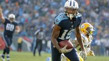 Tajae Sharpe of the Tennessee Titans runs for a touchdown against the Green Bay Packers on Nov. 13, 2016. (Andy Lyons/Getty Images)