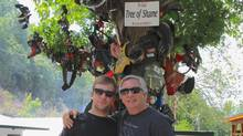 The Tree of Shame at the Deals Gap Motorcycle Resort, where they'll hang a piece of your car if you crash on the Tail of the Dragon.