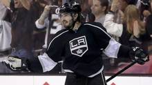 Los Angeles Kings defenceman Drew Doughty celebrates his goal against the Chicago Blackhawks during the third period of Game 3 of the Western Conference finals of the NHL hockey Stanley Cup playoffs in Los Angeles, Saturday, May 24, 2014. (Associated Press)