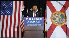 Republican presidential candidate Donald Trump speaks during a campaign rally on Thursday in Jacksonville, Fla. (Evan Vucci/Associated press)