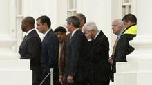 Republican senators leave the White House after a meeting with U.S. President Barack Obama. (KEVIN LAMARQUE/REUTERS)