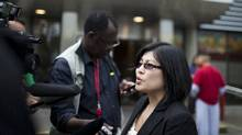 Gloria M. Ng, a lawyer that represents Joshua Lyle Evans who is accused of stabbing Sunny Jaura during last week's riots, speaks to reporters outside the Downtown Community Court in Vancouver, Wednesday, June 22, 2011. Rafal Gerszak for The Globe and Mail (Rafal Gerszak for The Globe and Mail/Rafal Gerszak for The Globe and Mail)
