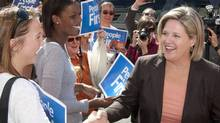 Ontario NDP Leader Andrea Horwath greets supporters during a campaign stop in Ottawa, Wednesday September 14, 2011. (FRED CHARTRAND/THE CANADIAN PRESS/Fred Chartrand)