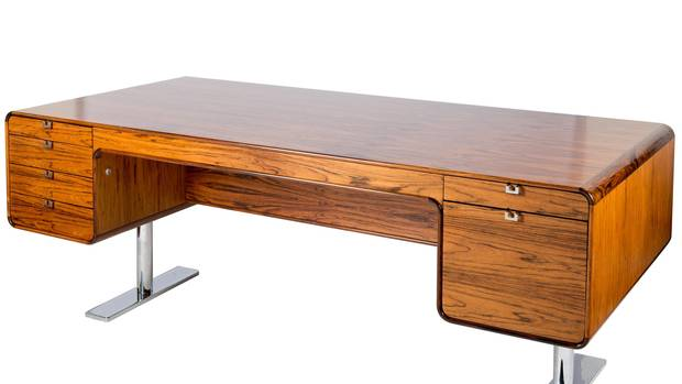 The pieces in the show range from the mass-produced to the exquisitely bespoke. Leif Jacobsen and Svend Nielsen's 701 Desk, made in 1974 in Willowdale, Ont., must have been custom-made for someone important; it's beautifully detailed from fine rosewood.