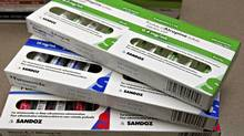 Sandoz injectable products at a pharmacy in Quebec City on March 8, 2012. Sandoz Canada, a leading maker of injectable drugs, announced it has suspended or discontinued production of some drugs, prompting fears of a shortage of critical medications. (Jacques Boissinot/THE CANADIAN PRESS/Jacques Boissinot/THE CANADIAN PRESS)