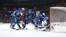 In his first game, Vancouver Canucks 23-year-old winger Emerson Etem, left, drew three penalties, including one in overtime that led to the winning goal against the Florida Panthers, on Jan. 11. (Jeff Vinnick/Getty Images)