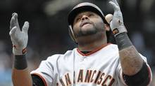 Pablo Sandoval #48 of the San Francisco Giants celebrates after hitting a solo home run during the first inning of a baseball game against the San Diego Padres at Petco Park on September 5, 2011 in San Diego, California. (Photo by Denis Poroy/Getty Images) (Denis Poroy/Getty Images)