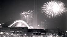 Fireworks burst over SkyDome in Toronto on its opening day, June 3, 1989. (Jeff Wasserman for The Globe and Mail)