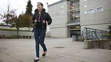 Sarah Bercic, a grade 10 student at at Eric Hamber Secondary School, leaves the school for home April 19, 2012 in Vancouver, British Columbia. Bercic commutes 20 mins to school from her home daily. (Jeff Vinnick/Jeff Vinnick/The Globe and Mail)