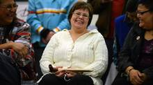 Attawapiskat Chief Theresa Spence takes part in a celebration to end her hunger strike in Ottawa on Jan. 24, 2013, after being released from hospital. (SEAN KILPATRICK/THE CANADIAN PRESS)