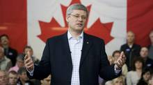 Prime Minister Stephen Harper speaks at the College of Applied Arts and Technology during a campaign stop in Sault Ste Marie, Ont. (Adrian Wyld/CP/Adrian Wyld/CP)