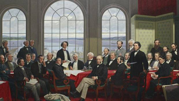 Painting of 'The Fathers of Confederation' on display in the Railway Committee Room on Parliament Hill in Ottawa on June 29, 2011.