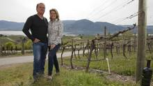 Laughing Stock Vineyards owners Cynthia and David Enns in Penticton, B.C. (Jeff Bassett for The Globe and Mail)