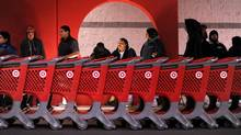 Black Friday shoppers wait for the midnight opening of an Emeryville, Calif., Target location. Target says it will oppose an attempt to have unionized workers at its Canadian stores. (Noah Berger/AP/Noah Berger/AP)