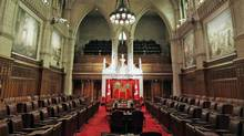 The Senate chamber sits empty ahead of the return of Parliament on Sept. 16, 2010. (CHRIS WATTIE/REUTERS)