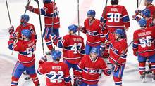 Montreal players salute their fans Saturday after completing a season that sees just one Canadian team make the playoffs. (Jean-Yves Ahern/USA Today Sports)