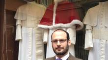 Lorenzo Gammarelli, a member of the sixth generation of clerical tailors, outside his shop in Rome, behind the Vatican. (Eric Reguly/The Globe and Mail)
