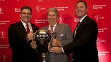 Golf Canada CEO Scott Simmons, Canadian Pacific CEO Hunter Harrison and LPGA Tour Commissioner Mike Whan (Golf Canada)