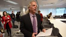 B.C. Teachers Federation Jim Iker leaves a news conference in Vancouver, on April 30. British Columbia's highest court has ruled the province did not violate teachers' charter rights, reversing two lower-court decisions in favour of a union that has fought for class size and composition clauses in its contracts. (Jonathan Hayward/THE CANADIAN PRESS)