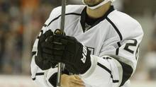 Los Angeles Kings defender Slava Voynov looks up during a break in play against the Anaheim Ducks during the third period at Honda Center in Anaheim, California, in this September 29, 2014 file photo. (USA Today Sports/REUTERS)