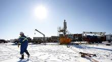 A hydraulic fracturing operation in Alberta on Feb. 14, 2012. (Jeff McIntosh for The Globe and Mail)