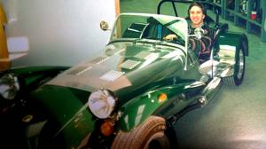 Peter Cheney, pictured, loves the Caterham Seven. His wife isn't impressed by the lack of doors, radio, and side windows - or space for the family.