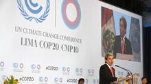 Peru's Minister of the Environment and new President of COP20, Manuel Pulgar-Vidal, talks during the opening ceremony of the Climate Change Conference in Lima, Peru, Monday, Dec. 1, 2014. (Martin Mejia/Associated Press)