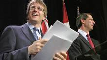 Gerard Kennedy resigns from Ontario Premier Dalton McGuinty's cabinet at a Toronto news conference on April 5, 2006. (Fred Lum/The Globe and Mail)