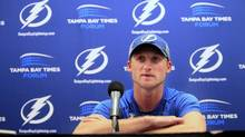 Tampa Bay Lightning Steven Stamkos addresses the media during a press conference at the Times Forum in Tampa, Fla., Monday, Nov. 25, 2013. (Shadd, Dirk/AP)