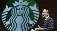 Starbucks CEO Howard Schultz speaks Wednesday, March 23, 2016, at the coffee company's annual shareholders meeting in Seattle. #BoycottStarbucks was a response by the U.S. President Donald Trump's supporters to Schultz's promise to hire 10,000 refugees. (Ted S. Warren/AP)