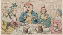 The gradual abolition off the slave trade or leaving of sugar by degrees. 1792 etching, hand-colored. Print shows George III sitting at a table with the Queen and two of his daughters. (Library of Congress)