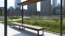 The new green roof at City Hall creates an inviting space.